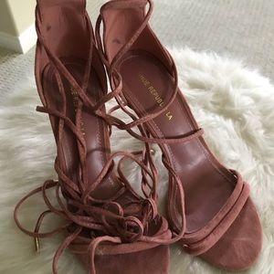 Pink suede tie up heels